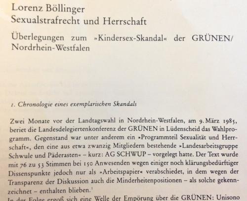 """Prof. Dr. Lorenz Böllinger über """"Sexualstrafrecht und Herrschaft"""",  1986 in der Zeitschrift """"Kritische Justiz"""" veröffentlicht."""